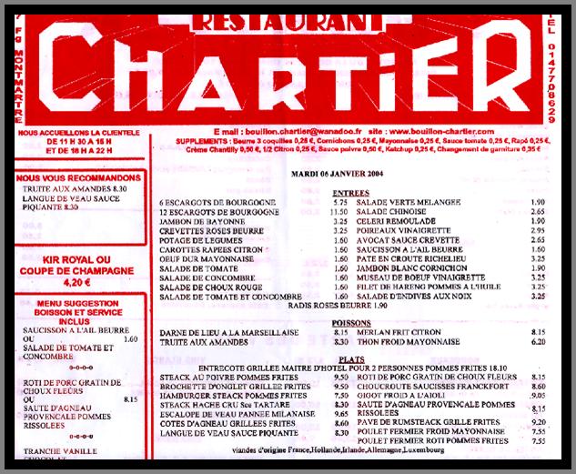 Carte du restaurant Chartier du 6 janvier 2004